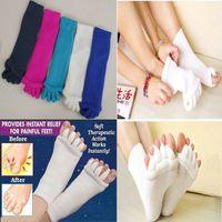 Wholesale Ankle Toe Socks Women - Comfy Toes Sleeping Socks Massage Five Toe Socks Happy Feet Foot Alignment Socks free shipping