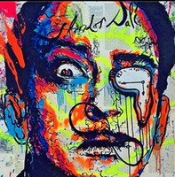 Wholesale Oil Painting Dali - Framed Alec monopoly Urban street arts Salvador Dali,Handpainted Abstract Cartoon Graffiti Wall Art Oil Painting On Canvas Multi sizes TY152