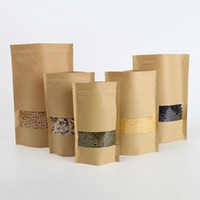 Wholesale Eco Friendly Paper Packaging - 20*30cm Coffee Tea Kraft Paper Ziplock Packaging Storage Bag Self Seal PE Valve Pouches Package With Window ZA4164