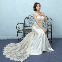 Wholesale Light Shirts China - Popodion mermaid wedding dresses lace light champagne vestido de noiva china bridal gowns train wedding gowns dhWED90021