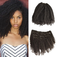 Wholesale afro american curly hair for sale - Group buy 4a b c Mongolian afro Kinky Curly Clip In Hair Extensions Virgin Human Hair Natural color Clip Ins Human Hair for african american G EASY