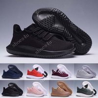 Wholesale Kids Knitted Boots - 2017 Cheap Tubular Shadow Adult And Kids Running Shoes Knit Core Black White Cardboard Tubular Shadow 3D 350 Boots Training Shoes us 5-10