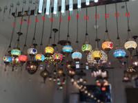 levou luzes pendentes tectos altos venda por atacado-Lâmpadas e lanternas de café Diffuse da Turquia Abajur americano country Bohemia Candeeiro de parede Mosaic