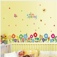 Spring Home dekorative Wandaufkleber Klee Tapeten Geschenke für Kinder Room Decor Sticker Nette Blumen Gras dekorative Glass Stickers
