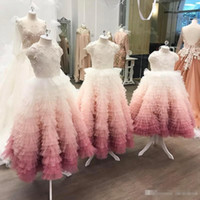 Wholesale Two Toned Pageant Dresses - Beautiful Two Tone Wedding Flower Girl Dresses 2017 With Embroidery Beaded Tiers Skirt Little Girl Formal Pageant Party Gowns Birthday Wears