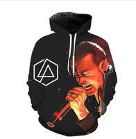 linkin park suéter venda por atacado-Nova Moda Homens / Mulheres Estilo Hip Hop 3d Hoodies Linkin Park Chester Bennington Hoodies Outono Inverno casual Impressão Com Capuz Pullovers Tops