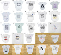 Wholesale 2017 Boys Girls Baby Rompers Summer Short Sleeve Newborn Onesies Clothing Letters Toddler Romper Cotton Infant Bodysuit Boutique Clothes