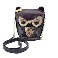 Wholesale Fox Handbags - Wholesale- Fashion Cartoon Bow Owl Soft PU Leather Handbag Bag Korean Cute Fox Designer Shoulder Bags Chain Women Cross-body Bags Gift