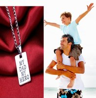 Wholesale Strand Chains Leather Necklace - Vintage My Dad My Hero Necklace Family Party Choker Leather Rope Chain Retro Pendant Fashion Father Daddy Men Jewelry Gifts Wholesale