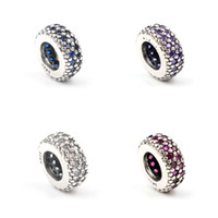 Autêntico 925 Sterling Silver spacer pérolas cristal multicolor Rhinestones Big Hole Loose Beads Fit Charm Bracelets DIY Findings Jóias