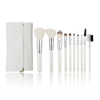 Wholesale Guaranteed Best Quality - No Logo Portable Best Quality Guarantee White Wood Handle Silver Ferrule Cosmetics Brushes Silky Smooth Brushes Set with a Customiized Bag