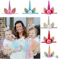 Wholesale Tiara Glitter Headbands - Toddle Unicorn Flowers Headband Birthday Gifts Lace Crown Hair Bands Headwear Glitter Elastic Tiara Kids Girls Party Hair Accessories
