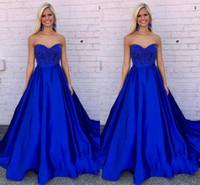 Wholesale Fiesta Birthday - Elegant Sweetheart Neck Long Prom Dresses Royal Blue Beaded Zipper up Back Formal Evening Party Dresses Vestido De Fiesta Birthday Dresses