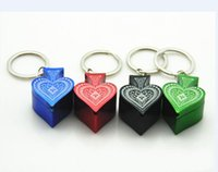 Wholesale Poker Key - New style metal Poker Peach heart pipe key chain portable smoking pipe aluminum alloy pipe VS Glass Water Silicone Bongs Pipes DHL