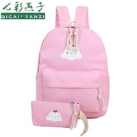 Backpack Style blue cloud books - QICAI YANZI Girls Cute Cloud Book Bags Student Canvas Backpack Preppy Style ps set Teenager Escolar mochila feminina Mujer P628