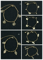Wholesale gold butterfly anklet - Delicated Rose Dragonfly Butterfly Women Anklets Gold Tone 2 Layer Hollow Out Ankle Bracelets Foot Chain Barefoot Sandals Womens Jewelry