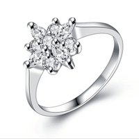 5pcs / Lot Fashion High-end Zircon Flower Design Cobre 18k Real White Gold Color Rings Beautiful Jewelry Gift Preço baixo