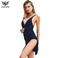 Atacado- NAKIAEOI 2016 Plus Size Swimwear One Piece Swimsuit Mulheres Summer Beach Wear Vintage Retro High Waist Bathing Suit Dress Black