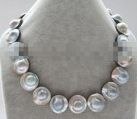 "Wholesale Pearl Blister - ""Handmade""Necklace - AA 18"" 22mm big size gray blister Mabe pearl necklace"