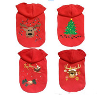 Wholesale Christmas Hoodie For Dog - Classic Christmas reindeer dogs hoodie suits of clothes in winter red Christmas overcoat for dog clothes
