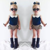 Wholesale Cotton Down Vests - INS styles Hot selling girl Summer 2 pieces set Cotton Blue collar vest+ shorts baby clothing girl 2 pieces sets 0-5T