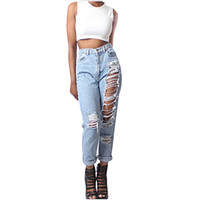 Wholesale Ladies Street Jeans - Wholesale- Women Celeb Stretch Ripped Skinny High Waist Jeans Lady Casual Street Fashion Hole Slit Pants Girl Straight Denim Trousers Dec
