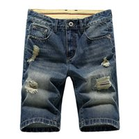 Wholesale Loose Fitting Coats - Wholesale-Top Quality Mens Jeans Denim Shorts Casual High Quality Fashion Washed Hole Shorts Men Plus Size Fit Jeans Men Hot Sale