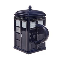 Wholesale police cup - Water Cups Doctor Who: Tardis Mug Ceramic Mug With Removable Lid Cup Londres Police Blue with retail box