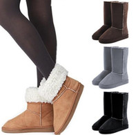 Wholesale Grey Long Boots For Women - Wholesale classic women boots tall waterproof cowhide genuine leather snow boots warm shoes for women fashion winter long suede boots