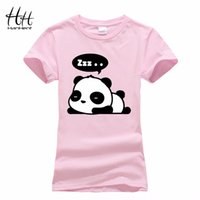 Wholesale Panda Shirts For Women - Wholesale-HanHent New 2016 Lovely Panda Print T shirt Women Cool Punk Animal Fashion Short Sleeve T-shirts for women Cute Tops Tees TB0480