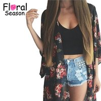 Wholesale Vintage Sheer Cardigan - Wholesale- 2016 Fashion Women Ladies Sheer Floral Chiffon Kimono Cardigan Robe Jacket Vintage Print Kimono Jacakets ZM0073