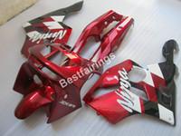 ingrosso rivestimento zx6r 95 rosso-Kit carenatura carrozzeria per Kawasaki Ninja ZX6R 1994-1997 carenatura rosso vino nero ZX6R 94 95 96 97 OT11