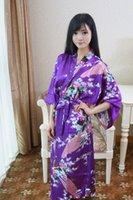 Wholesale Chinese Wedding Ladies Dress - Wholesale- Purple Chinese Lady Bathrobe Silk Rayon Long Kimono Bath Gown Bridesmaid Wedding Sexy Nightgown Dress One Size T033