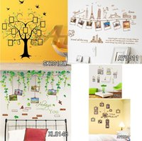 Wholesale photo decal paper - Heart Shape Photo Frame Tree Wall Decals Vine Branches Wall Stickers Birds Green Leaves Wall Art For Family Couples Home Decor Free Shipping