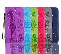 galaxia billetera de diamantes al por mayor-Cartera de cuero Bling Diamond Butterfly Girl Card Flip elegante correa de la cubierta floral para Galaxy S8 Plus S7 Edge (A3 A5 A7 J3 J5 J7) 2017