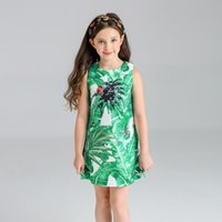 Wholesale Banana Boats - European Big Girls Dresses Summer Sleeveless Banana Leaf Handmade Sequins Nail Bead Jacquard Dress Elegant Girl Cothes Unique Green A5972