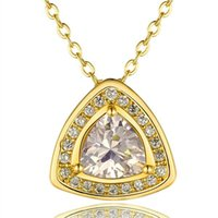 Wholesale Triangle Heart Necklace - Best gift triangle white crystal 18K gold Necklaces for women,Brand new yellow gold gem pendant Necklaces include chains SGN847