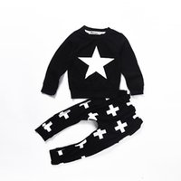 Wholesale High Quality Cotton Suits - Mikrdoo 2017 Baby Casual Clothes Star Black T-shirt Cross Pants Fashion Infant Suit Cotton Long Sleeve Tops Kids High Quality Kids Clothing