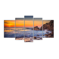 Wholesale oil paintings sea view online - 5 Panels Canvas Wall Art Sunset Sea View Painting Print Seascape Painting with Wooden Framed Modern Artwork for Home Decor Ready to Hang