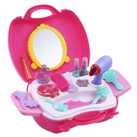 Wholesale Children Pretend - Classic Furniture Toys For Children 21pcs Makeup Toy Chic Dresser Children Simulation Pretend Play Hand Case Baby Kids Toys