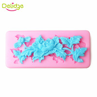 Wholesale Peony Cake - Delidge 20 pc Many Shapes Flower Cake Mold Silicone Plum Orchid Peony Small Flower Fondant Candy Mould Cupcake Decoration Mold