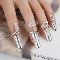 Wholesale Female Ring Finger - Fashion S925 Silver With Rhinestone Finger Nail Ring Charm Flower Crystal Female Personality Nail Art Rings
