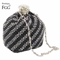 Wholesale Clear Crystal Evening Bag - Wholesale- Silver Plated Clear & Black Crystal Striped Women Aluminum Mini Coin Purses Long Metal Chains Shoulder Bags Evening Party Clutch