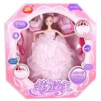 Barbie Doll Girl Princess Wedding Belle robe Bride Boxed Musique Jouets pour enfants Dancing Mini Doll Birthday Christmas Gift