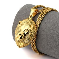 Wholesale lion head chain necklace - New Arrivals Hip Hop Fashion Jewelry Gold Plated Lion Head Pendant Necklace Bling Bling Jewelry for Men and Women