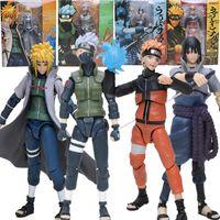 Wholesale Naruto Minato - Box S H Figuarts Namikaze Minato Hatake Kakashi Uzumaki Naruto Uchiha Sasuke Figuarts Naruto Collectible PVC Action Figure Toys brinqudoes