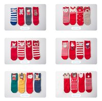 calcetines de 12 paquetes al por mayor-Calcetines de Navidad para niños Baby Boy Girl Papá Noel Snow man Warm Stripes Calcetines Red Cute 4 pares / paquete Winter Hotsale Quality 1-12year