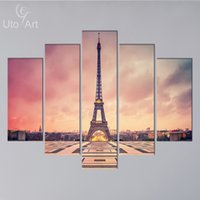 Wholesale Eiffel Wall Decor - Wholesale Home Decor Canvas Wall Art Painting Paris Eiffel Tower Modular Wall Picture Canvas Print from Photo on Canvas for Home