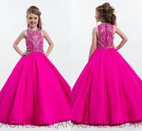 ingrosso vestiti da promenade rosa dell'abito di sfera dei capretti-2017 Hot Pink Sparkly Principessa Ball Gown Girl Pageant Abiti per adolescenti Piano Lunghezza bambini Abiti da ballo formale Prom con strass bordare