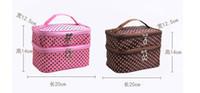 Wholesale Dotting Kit - Double Layered Polka Dot Makeup Tool kit Organizer Bag Women Cosmetic Bag Travel Bag Handbag Lady Waterproof Free DHL